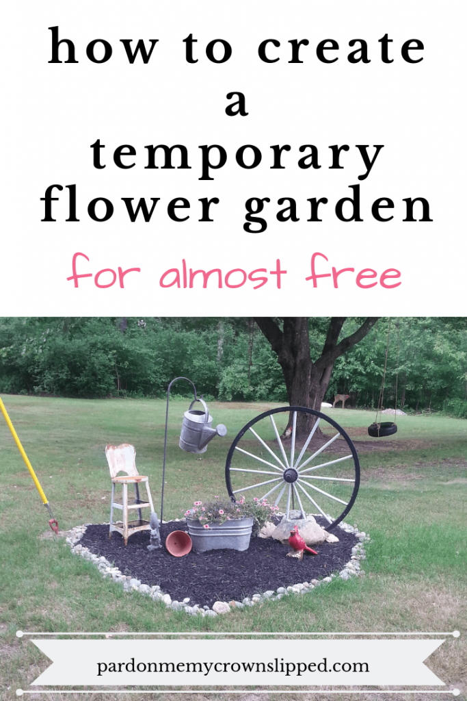 Don't know if your idea for a new flower garden spot is what you want? Use my tips to create a temporary flower garden for almost free. cheap and easy garden idea #garden #outdoorspace