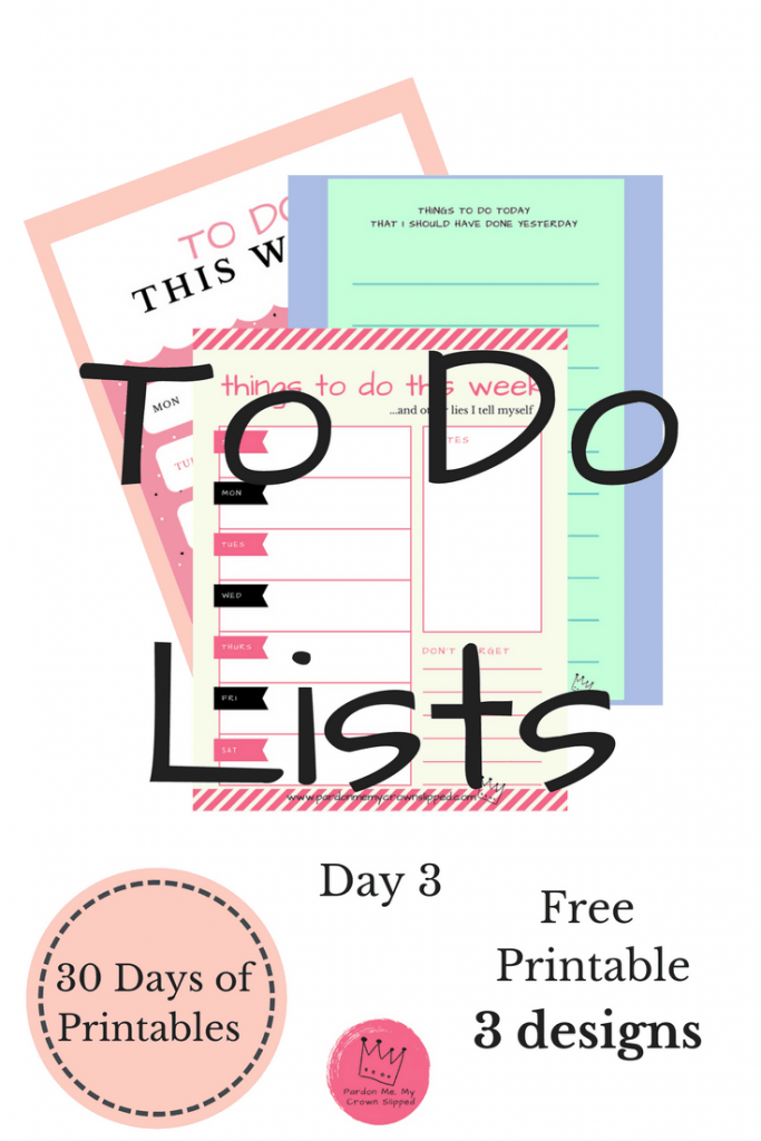 Need a great to do list printable for either every day or a whole week? Click here to get 3 pretty printables
