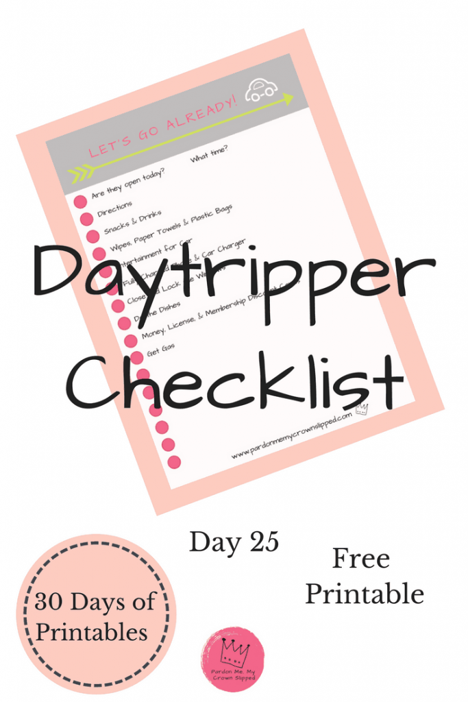 Going on day trips is a fun part of summer vacation.  Whether you're driving from home or taking a side trip from your vacation spot you don't want to forget anything. Use this handy day trip checklist before jumping in the car.