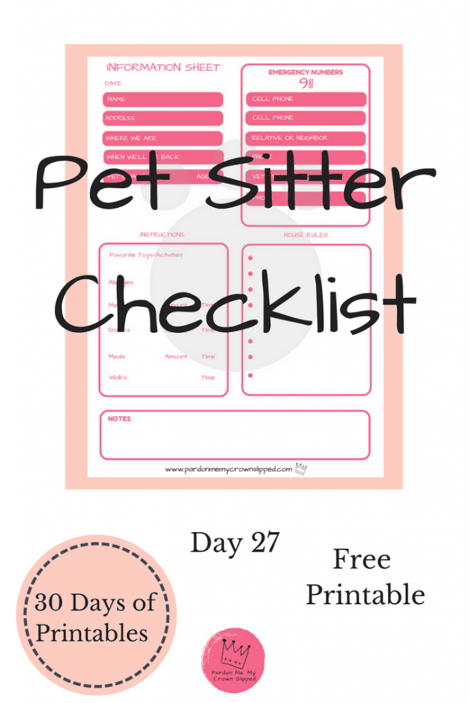 Click here for a FREE Pet Sitter Checklist for when you go away. #vacation #pet #printable