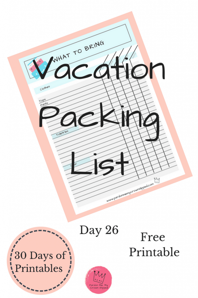 Free vacation packing checklist so you never forget anything for your next vacation getaway. #vacation #printable
