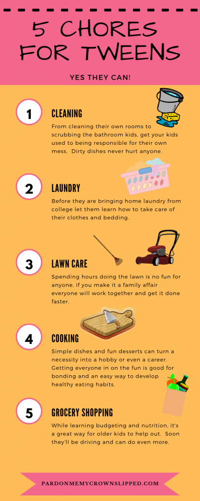 Make your life easier and make you a better mom by teaching your tweens these important chores for valuable skills that last a lifetime.