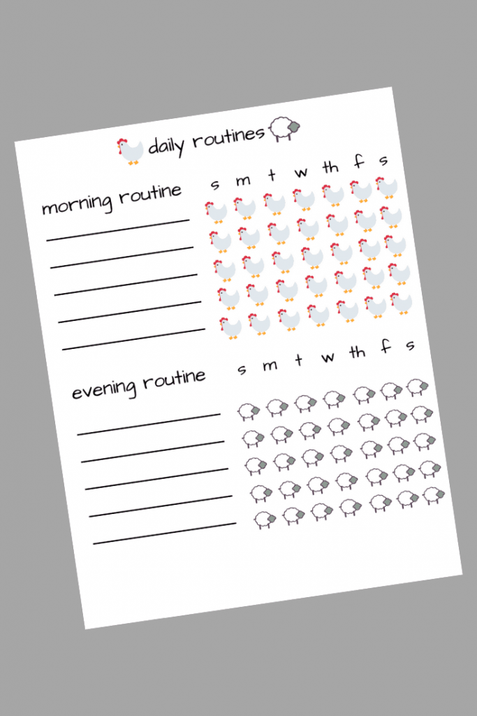 Daily Routine Printable for tracking morning and evening routines